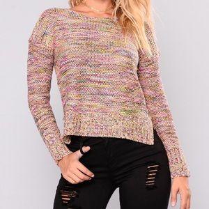 Multi color knit sweater 100% acrylic